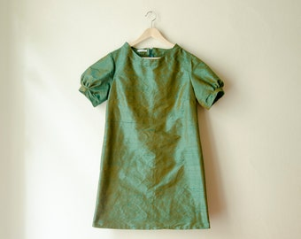 Green Silk Mini Dress with Raised Neckline and Puffy Sleeves, Available in Custom Colors and Plus Sizes