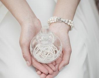 Bridal Bracelet, Pearl Wedding Bracelet, Swarsvski Pearl Bridal Jewelry, Wedding Jewellery