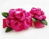 Dolly / Garden rose cabbage rose hair clip - no slip snap clip