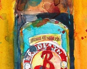 Brooklyn Summer Ale Beer Print from Original Watercolor  - Giclee or Archival Print  Man Cave College Dorm