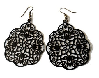 Rustic Hand Painted Black Moroccan Style Filigree Earrings, boho, gypsy