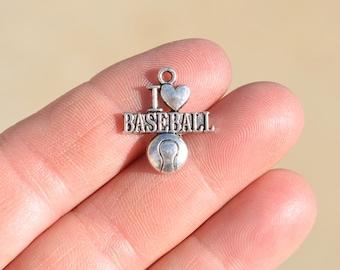 BULK 20 Silver Tone I Love Baseball Charms SC1231