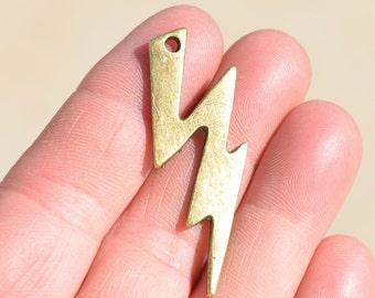 4 Antique Bronze Lightning Bolt Pendants BC1782