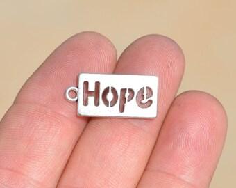BULK 50 Silver HOPE Charms SC1509
