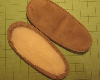 Suede Slipper Soles with Fleece Lining in 7 Colors