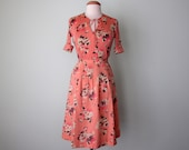 70s blouse & skirt / pink floral print cotton pleated Nipon set (xs - s)
