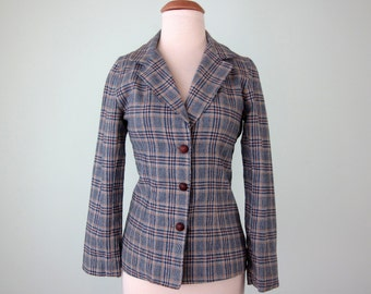 70s blazer / fitted plaid three button jacket slim fit boyfriend (xs - s)