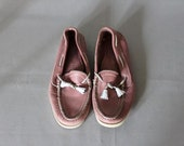 vintage Pink leather SPERRY TOPSIDERS boat shoes size 9 deck shoes