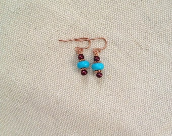 Turquoise Magnesite and Cranberry Freshwater Pearl Earrings on Copper