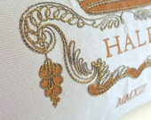 ANNIVERSARY EMBROIDERED PILLOW - Silk, Embroidery, Metallic Gold, Last Name, Year