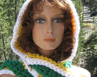 Hooded Scarf/Scoodie Football Team Colors Green Bay Crocheted Knit Vegan