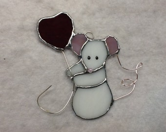 Valentine Mouse Stained Glass Sun Catcher