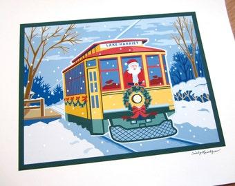 Santa Holly Trolley print