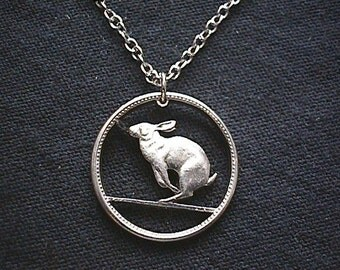 RABBIT HARE Cut Coin Necklace Real Canadian Nickle