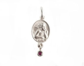 silver guardian angel with ruby