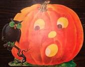 Vintage collectible Halloween decor Pumpkin and owl die cut by Dennison