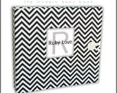 Baby Book . Baby Memory Book . MINI BLACK and White CHEVRON Zig Zag Album . Ruby Love Modern Baby Memory Book