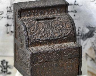 JUNIOR cash register...  ANTIQUE cast iron piggy bank...  moneybox...  home decor...    L U 1