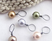 Pastel Swarovski Crystal Pearls Knit Stitch Markers - Set of 5