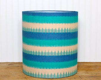 Bohemian Drum Shade - Lampshade - Lamp Shade - Ikat Lamp Shade - Blue Drum Shade - Handprinted - Drum Shade - Blue Lamp Shade - Modern