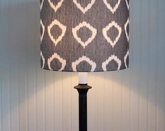 Lamp Shade Lampshade Drum Pendant Modern Nora Grey Ikat Circle Hand Woven Made to Order