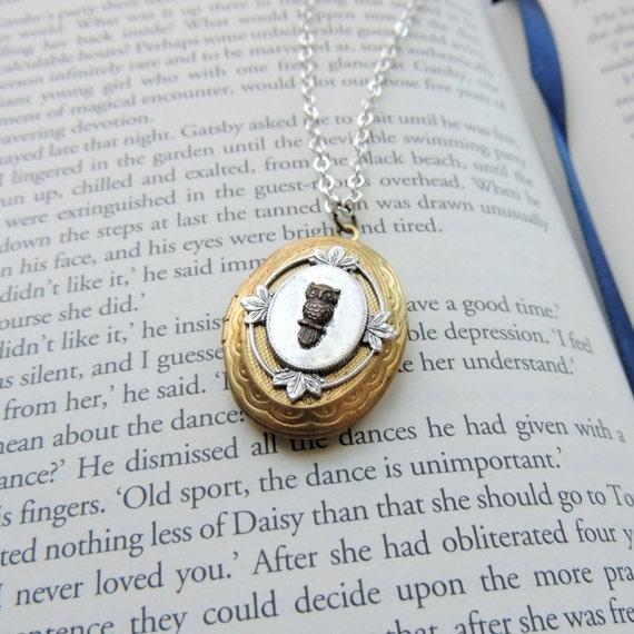 Owl locket // brass owl necklace