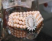 Reserved for D -  Panetta Bracelet, Glass Pearls, Vintage Bride, Hidden Rhinestone Flower Clasp, Triple Strand w/Bridges, Minty Condition
