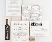 Wedding Invitation, Rustic Vineyard Sonoma California Wedding Collection, Wine Pairing and Vineyard Wedding Theme Invitations