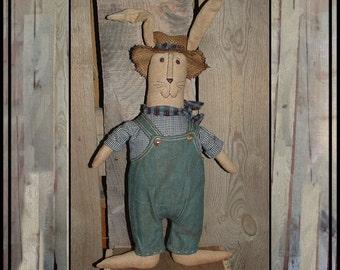 Primitive folk art soft sculpted farmer rabbit bunny HAFAIR bib overalls