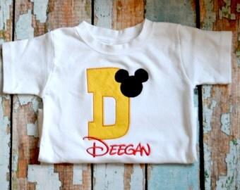 Initial mickey Mouse Shirt, Boys Mickey Mouse Initial Shirt, Boys birthday shirt