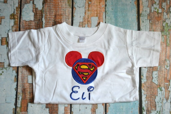 Superman Mickey Mouse Shirt Boys Embroidered Shirt Boys