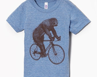 Sloth on a Bicycle - Kids T Shirt, Children Tee, Tri Blend Tee, Handmade graphic tee, sizes 2-12