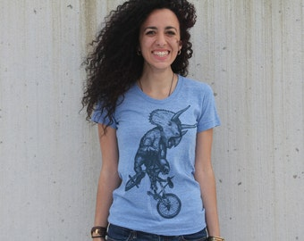 Womens Triceratops on a BICYCLE  tri-blend athletic blue T-Shirt - American Apparel - S  M  L  xL