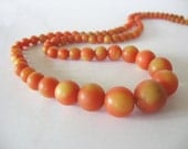 Celluoid Beaded Necklace Salmon Yellow Graduating 1930's