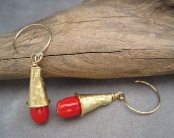 Red Hot - Red Coral Earrings - Summer - Red Drop Earrings - Dangles - The Perfect Red Earring - Fun For Summer - Red and Gold Dangles