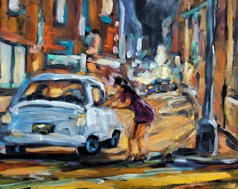 Urban Scene Corner Deal small oil painting created by Prankearts