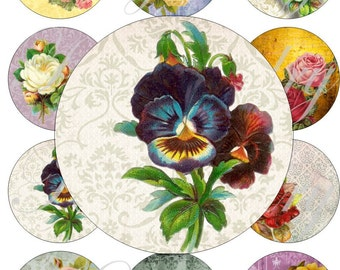 Vintage flowers in large circles for pocket mirrors and more -digital collage sheet no. 1448