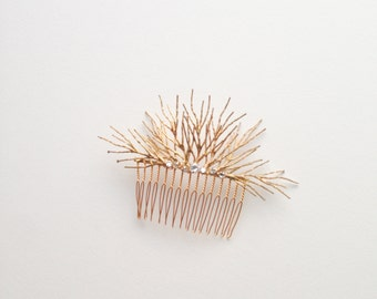 "Organic gold branch hair comb with crystals ""Camryn"""
