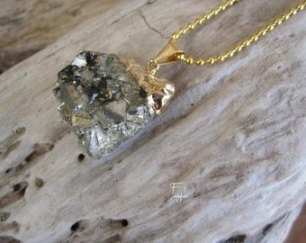 Drusy Pyrite necklace - ooak -Lava