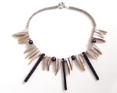 Midnight Kitana Necklace / FREE SHIPPING / Fair Trade Made in Zambia from Driftwood Beads and Freshwater Pearls KIN-002