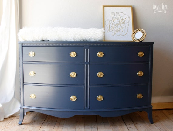 Painted Bow Front Dresser Navy Blue Gold Hardware. Large Subway Tile Shower. Jeep Furniture. Black Hardwood Floors. White Bedroom Ideas. Weisman Electric. Supreme White Granite. Industrial Pendant Lighting. Eames Replica Chairs