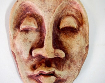 Meditation stoneware wall mask