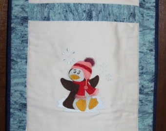 Happy Penguins Quilted Machine Embroidered Wallhanging