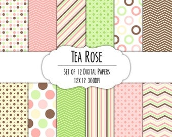 Tea Rose Digital Scrapbook Paper 12x12 Pack - Set of 12 - Polka Dots, Chevron, Stripes - Instant Download - Item# 8071