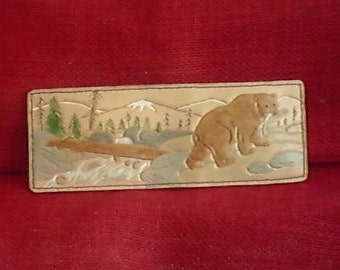 BEAR IN FOREST Handmade Leather Wallet