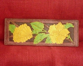 Handmade Leather YELLOW HIBISCUS WALLET on Brown