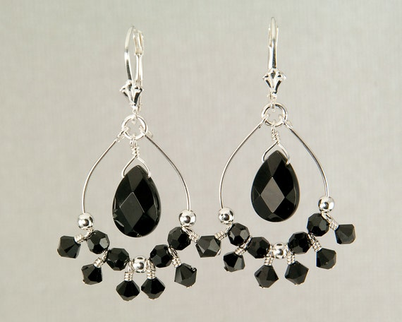 Black chandelier earrings, black onyx earrings, beaded hoop earrings, black crystal earrings, holiday jewelry, hand made jewelry