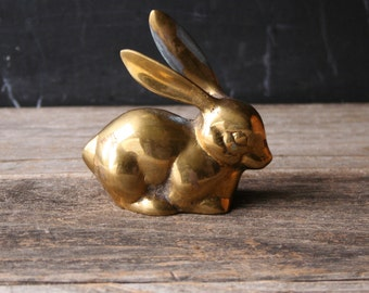 Vintage Brass Rabbit With large Ears Spring or Easter Home Decor Table Centerpiece From Nowvintage on Etsy