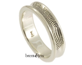 Concave Fingerprint Wedding Ring in Sterling Silver