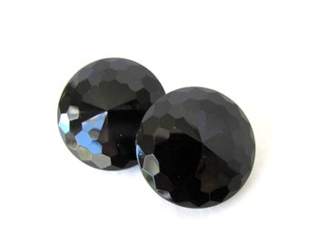 Vintage Czech Glass Buttons Black Rivoli Faceted Sewing Shank 22mm but0253 (4)